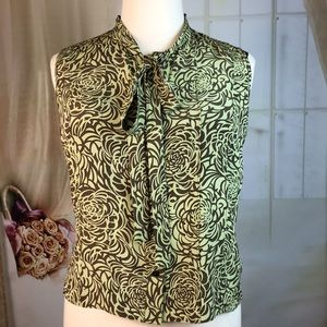 Ellen Tracy Silk Green Sleeveless Blouse